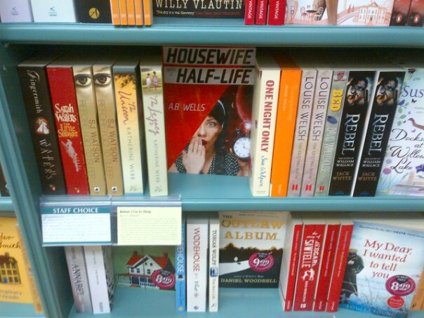 Housewife with a Half-Life on the shelf in Dubray Books in Bray. Also available in paperback in Hughes & Hughes around Dublin as well as on Amazon in ebook & paperback.