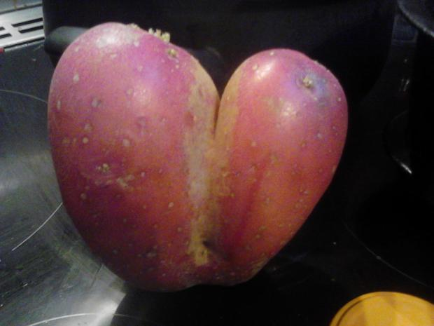 Valentine's came early as I discovered this heart shaped rooster potato when making the dinner.