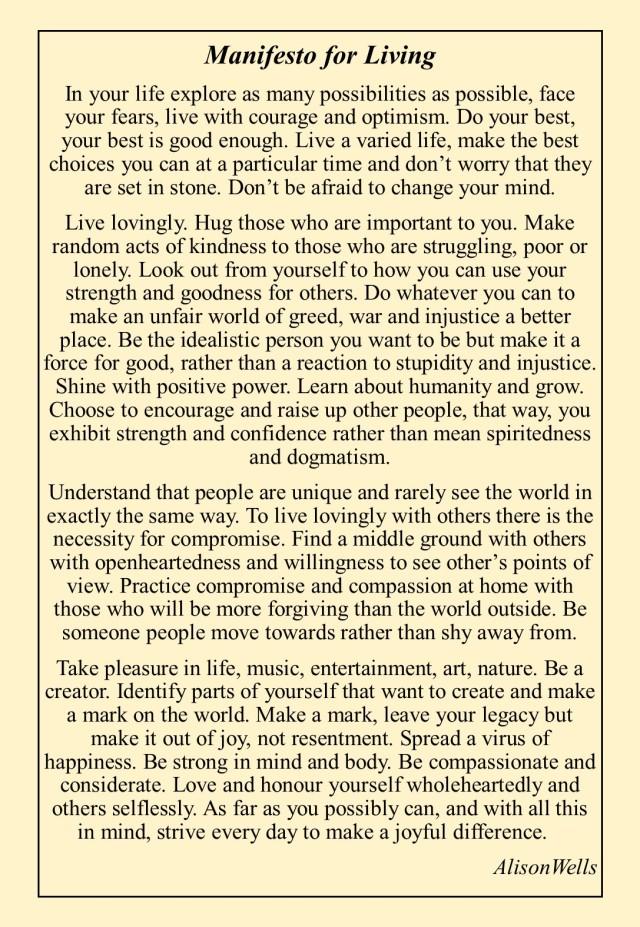 manifesto for living